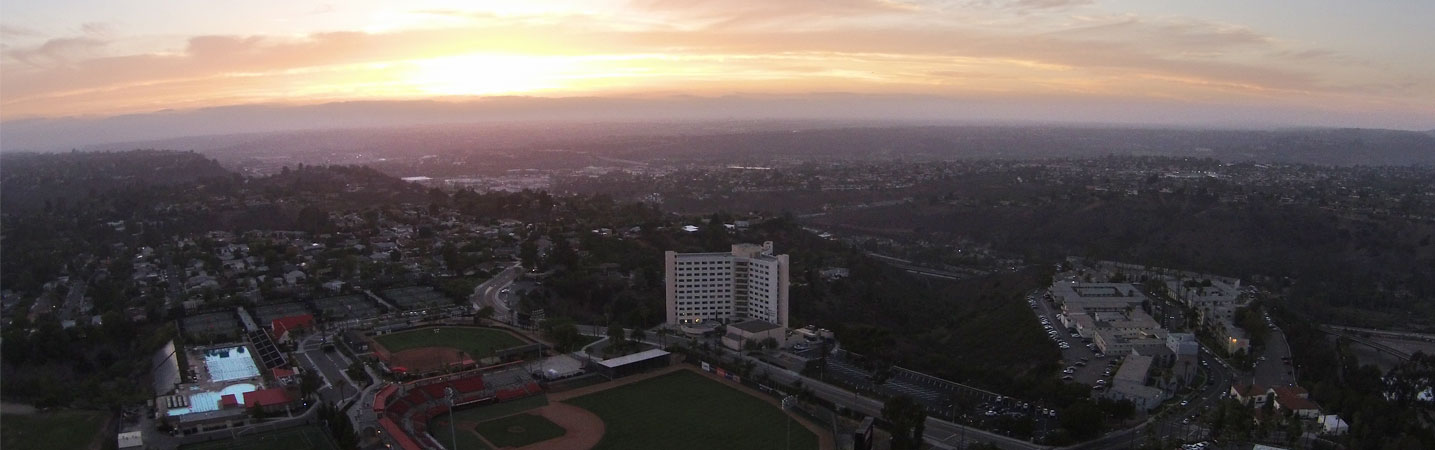 SDSU Campus View from Drone at Sunset